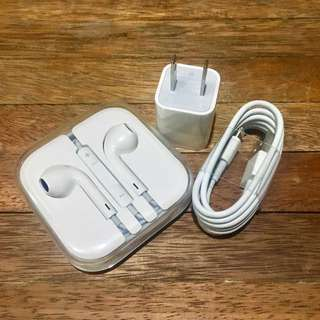 [SET] Apple Earpods + USB Lightning Cable Charger