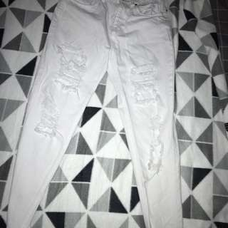 White High Waisted Ripped Vintage Style Jeans