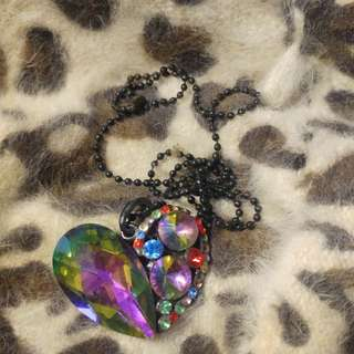 Rainbow Heart Long Necklace