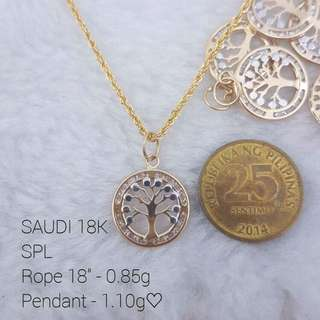 28K Saudi Gold Money Tree Necklace