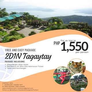 2D1N Tagaytay Free and Easy Package