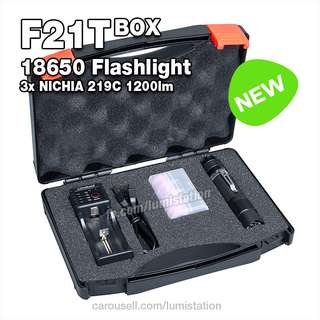 [SALE] F21T BOX Triple NICHIA (Japan) 219C 1200lm High CRI 18650 Flashlight Kit