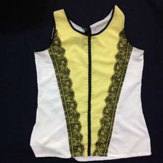 yellow detailed top
