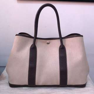 Authentic Hermes Garden Party Brown Leather & Beige Canvas