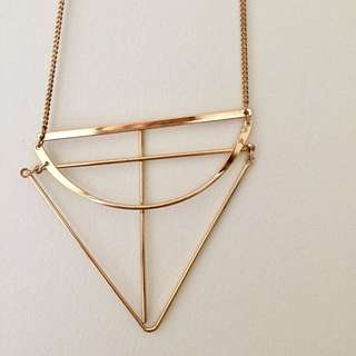 Golden Necklace With Geometrical Shapes