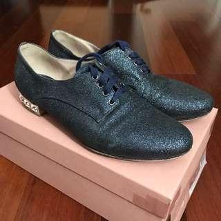 MiuMiu Calzature Donna Glitter Fine 3 Bleu Laced Up Shoes Size 7 (37)