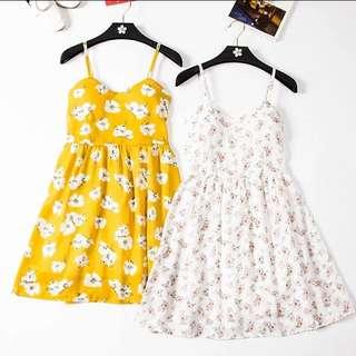 夏天花朵雪紡洋裝