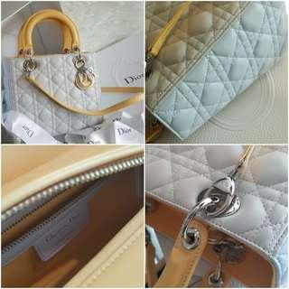 Christian Dior Medium Lady Dior in Tricolour Pastel Grey / Baby Blue / Yellow Lambskin Bag SHW 15- BO-0185 (3986-10)
