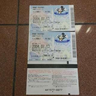 2004 日本迪士尼入場券三張 Tokyo Disneyland