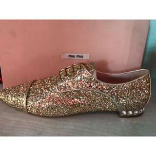 Miu Miu Women Glitter Gold Flat Shoes With Crystal On The Heels Size 40 Brand New With Box