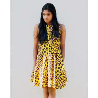 New Animal Print Dress Stretchy Elastic Skater Dress Casual