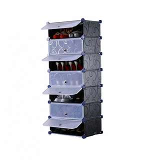 DIY 1 x 7 Cube Shoe Rack Wardrobe Box Storage Closet Organizer Cabinet with Doors (Black)