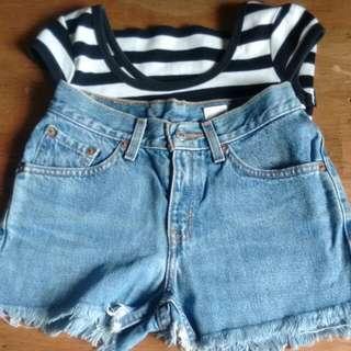 stripe stretch shirt and maong shorts bundle