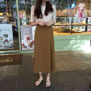 高腰顯瘦側開叉素色簡約中長款長裙