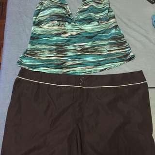 Plus Size Halter Top And Shorts Swim Set