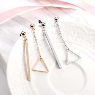 🚚 預購 兩件優惠🎉超美韓風韓款玫瑰金銀三角形幾何防敏鋼針耳環