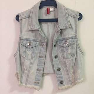 H&m Sleeveless Cropped Denim Jacket
