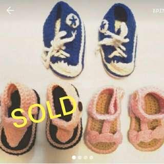 3pcs Bundle Crochet Shoes/sandals