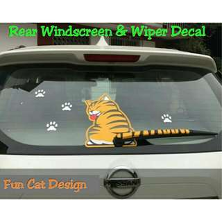 Car Rear Windscreen & Wiper Decal Fun Cat Design (Orange)