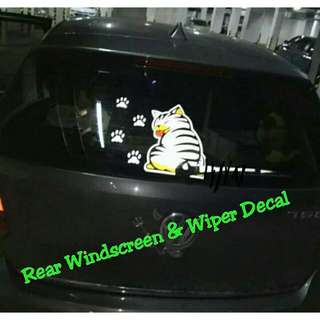 Car Rear Windscreen & Wiper Decal Fun Cat (White)
