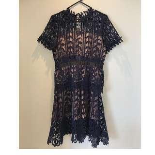 blue sexy lace silk through self-protrait dress