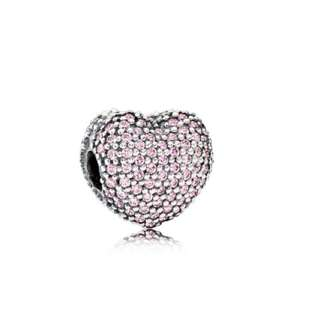 Pandora Pink Pave Open My Heart Charm