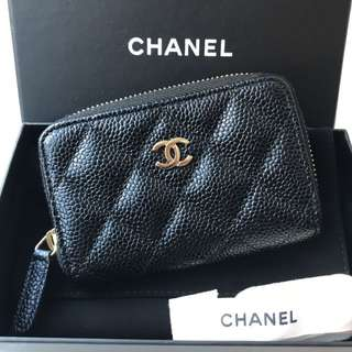 Chanel 黑色牛皮金拉鍊 Coins Bag / Card Holder