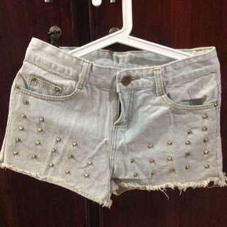 Light Wash Studs Shorts