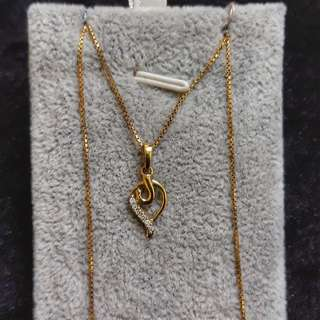Yellow Gold Necklace With Diamond Pendant