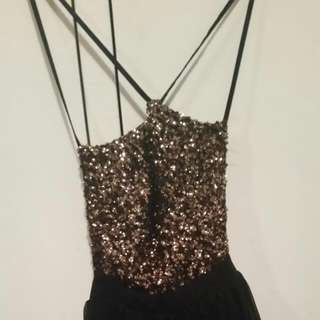 Blakc And Gold Sequin Dress