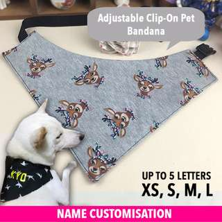 [PROMO] Customised Pet Bandana - Grey Deer (Size S), 3 WHITE LETTERS, Cotton Material
