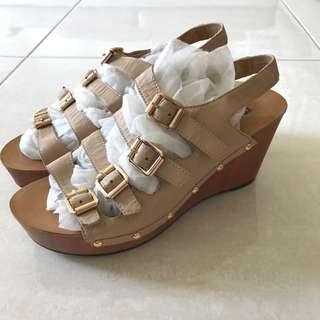 beige colour wedge heels
