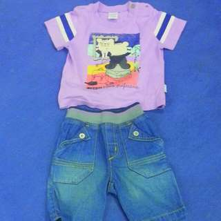 Preloved Baby Kiko Denim Pants And T-shirt 6-12mos