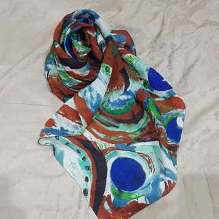 Scarf Hijab Square Abstrak Coklat