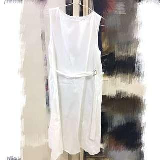 韓製 扣環腰帶棉麻無袖洋裝 連身裙 純白 #soulsis #nude #dogoose #room4 #ouijasmine #dresseum