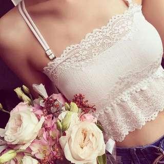 蕾絲 花邊性感 小可愛 美背裹胸 抹胸 小背心 附胸罩 一字領 露肩 可穿
