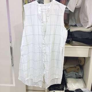 #nude 店內款設計師品牌 後開衩格子無領長版襯衫 白色