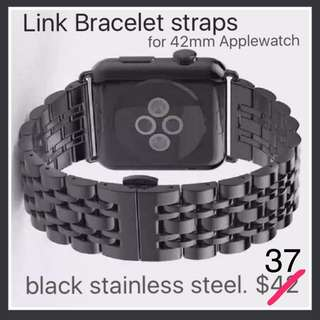 Straps For Apple watch (Link bracelet) In Black Stainless Steel. Only $42