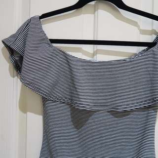 BNWT Off-Shoulder Striped Body Suit