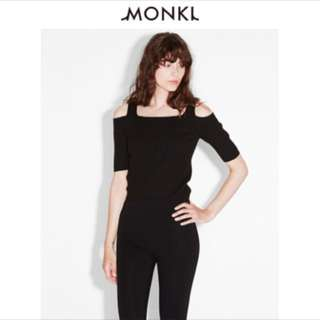 Ribbed Cold Shoulder Black Monki Top