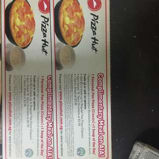 Pizza Hut Vouchers - Complimentary Meal