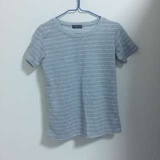 Grey And White Striped Top