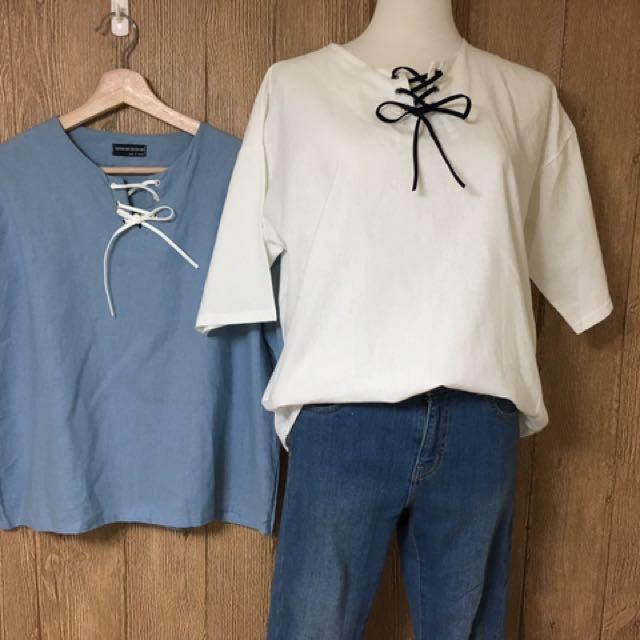 韓版蝴蝶領結棉麻上衣