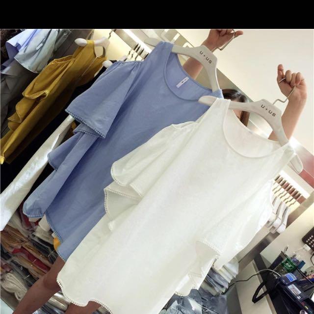 韓系削肩棉麻洋裝