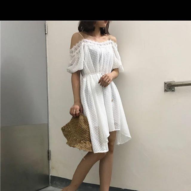 韓系蕾絲露肩洋裝