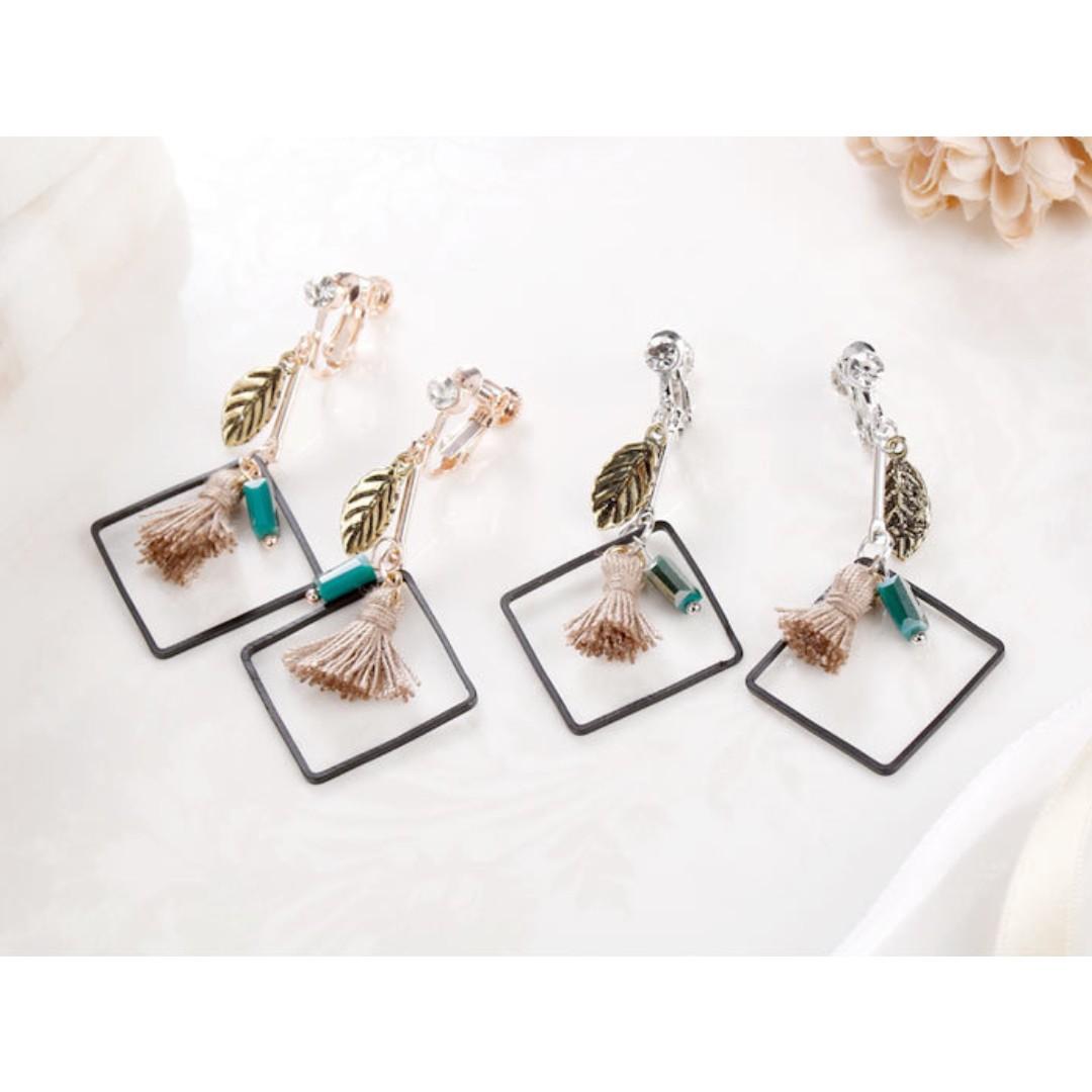 預購 兩件優惠🎉超美韓風韓款葉子流蘇黑三角形幾何防敏鋼針耳環