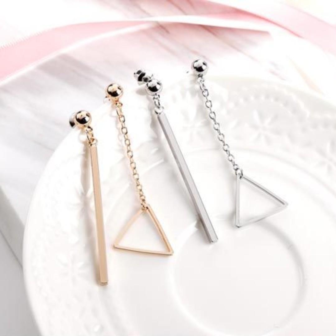 預購 兩件優惠🎉超美韓風韓款玫瑰金銀三角形幾何防敏鋼針耳環