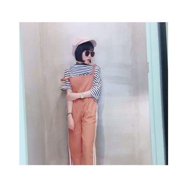 韓 雙槓運動休閒縮腰綁帶連身褲