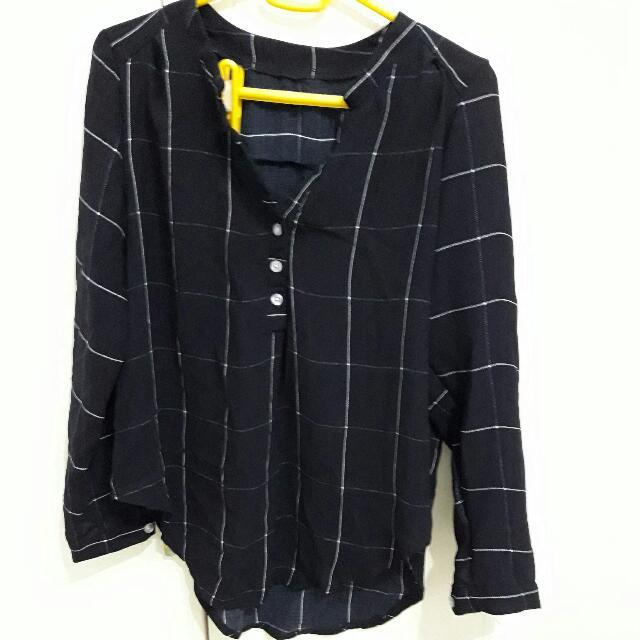 深藍 格子 襯衫