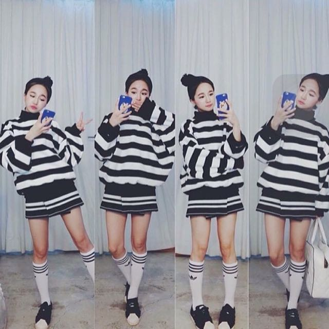 韓國 挺針織條紋設計感開衩A字短裙 #92pleats #nude #2143